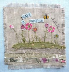 Freehand Machine Embroidery, Free Motion Embroidery, Machine Embroidery Applique, Cross Stitch Embroidery, Embroidery Patterns, Hand Embroidery, Fabric Postcards, Fabric Cards, Flower Pattern Design
