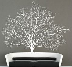 Large tree wall decal vinyl winter tree wall by Walldecorative