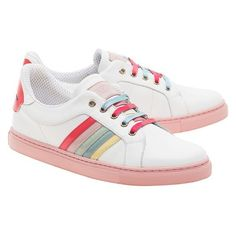 0a41729216cf RED VALENTINO Cool Rainbow White Leather sneakers with highlights ❤ liked  on Polyvore featuring shoes