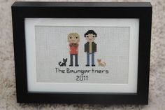 Custom family portrait with two cute cats! Great for an anniversary gift!