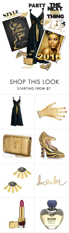 """Perfect  Party Dress"" by ragnh-mjos ❤ liked on Polyvore featuring Sonia Rykiel, Yves Saint Laurent, Gucci, Heidi Swapp, Estée Lauder, Moschino, contest, outfit and partydress"