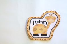 Giraffe Boys Name Patch Personalized Hand by MaineCoonCrafts, $12.00 Cute Personalized Patch for Jeans, bags, shirts or anything that you feel like blinging up. These patches are washable and can be sewn on or glued on using fabric glue. We can print any name in any color. These are great to add your signature style to anything that you wear.  Super adorable when added to baby clothing from our handmade accessories line.