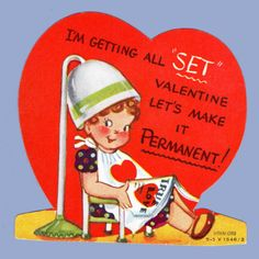 Vintage Valentine's Day Card 1950s Hair Salon Getting All Set Permanent | eBay