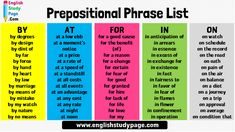 Prepositional Phrase List in English, By - At - For - In - On - English Study Page English Study, Learn English, Prepositional Phrases, Educational Quotes, English Writing Skills, Prepositions, Good Cause, English Grammar, Law