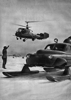 Sever-2 Soviet snowmobile (based on the Pobeda car, developed in 1959 in Helicopter Design Office of N. I. Kamov) on the South pole.