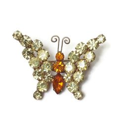 Yellow Rhinestone Butterfly Pin Orange Stones Smaller Brooch Vintage #gotvintage #springtime