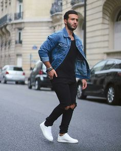 Urban Fashion: Jean Jacket Outfits for Men Modern Men Street Style, Casual Street Style, Street Styles, Perfect Outfit, Stylish Men, Men Casual, Mode Man, Style Masculin, Moda Blog