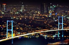Night Bosphorus Bridge, Hill of Çamlıca, Üsküdar District, Istanbul Province, Turkei