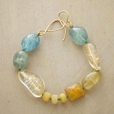SPEAK SOFTLY BRACELET -- Lena Skadegard's aquamarine, kunzite, citrine and yellow opal make a bold statement with whisper-soft hues.