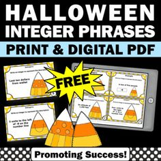 FREE Real World Integer Task Cards 6th Grade Halloween Math Activities Digital Common Core Math Standards, Halloween Math, Easel Activities, Formative Assessment, Integers, Review Games, Task Cards, Math Centers, Digital