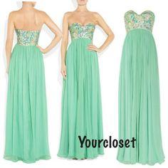 Sweetheart A-line Green Chiffon Sleeveless Long Prom Dress / Homecoming Dress from Prom Dress 2014 Prom Dress 2014, Cute Prom Dresses, Grad Dresses, Dance Dresses, Pretty Dresses, Homecoming Dresses, Beautiful Dresses, Bridesmaid Dresses, Prom 2014