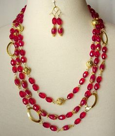 Long Multistrand Red Necklace Beaded Chain by laiseoriginals, $120.00