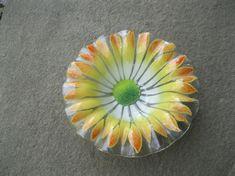 #VogueTeam #EtsyGift #Vintage Sydenstricker Fused Art Glass Bowl Yellow Flower Design Mid Century Signed