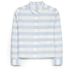 Cropped Stripes Shirt ($13) ❤ liked on Polyvore featuring tops, shirts, blouses, crop tops, long sleeve tops, crop shirt, long-sleeve crop tops, long-sleeve shirt and cropped tops