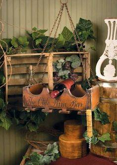The Olde Wine Bar Wooden Rack Hanging Glass Holder 3 Bottles Rustic Italian