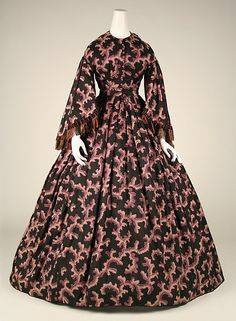 Dress Date: ca. 1860 Culture: American Medium: silk Dimensions: Length at CB: 57 1/2 in. (146.1 cm) Credit Line: The Jacqueline Loewe Fowler Costume Collection, Gift of Jacqueline Loewe Fowler, 1982 Accession Number: 1982.82.4
