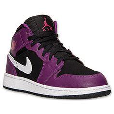 Girls' Grade School Air Jordan 1 Mid Basketball Shoes| Finish Line | Black/Vivid Pink/Bright Grape