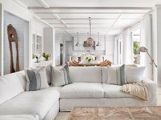 White Linen Sectional. Hamptons style living room with coffered ceiling, White Linen Sectional and sisal rug. #WhiteLinenSectional Chango & Co.