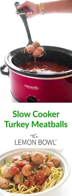 Turkey meatballs are slowly cooked in a homemade tomato basil marinara sauce until tender. Made without any breadcrumbs, this recipe is gluten free. #glutenfree #slowcooker #glutenfreerrecipes #healthy #turkey Best Crockpot Recipes, Good Healthy Recipes, Slow Cooker Recipes, Easy Recipes, Healthy Meals, Healthy Food, Crockpot Ideas, Delicious Meals, Healthy Slow Cooker