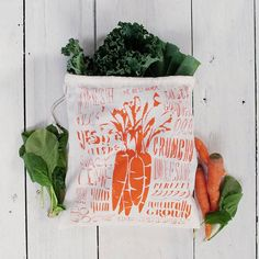 Produce bag / SlideSideways  handmade screen printed goods by slide sideways