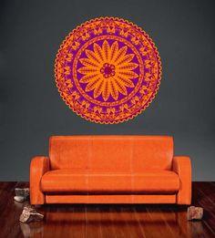 cik1438 Full Color Wall decal beautiful bright orange mandala meditation yoga room