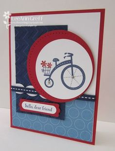 "Stamps - Moving Forward  Card stock - Real Red, Whisper White, Night of Navy, Polka Dot Parade dsp  Ink - Night of Navy, markers  Accessories - 2 1/2"" circle punch, 3"" circle die, Word Window and Modern Labels punches, dimensionals, Navy stitched grosgrain ribbon, Mini silver brads, Tasteful Trim die (white scallop strip), Chevron embossing folder, Paper piercing tool, mat and Essentials Paper-Piercing Pack"
