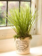 DIY: Grow chives or sage in a decorative pot. This site has lots of ideas. Artificial Flower Arrangements, Artificial Plants, Balcony Garden, Herb Garden, Grow Chives, Is It Spring Yet, Savings Challenge, Decor Ideas, Craft Ideas