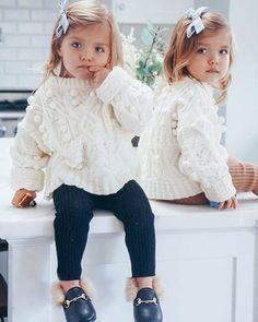 Happy Tuesday Everyone! Cute Baby Twins, Twin Baby Girls, Twin Babies, Cute Little Girls, Toddler Girl, Twin Girls Outfits, Kids Outfits, Little Girl Fashion, Kids Fashion