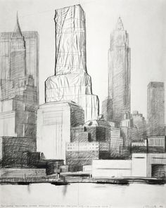 Two Lower Manhattan Packed Buildings (Project for New York City - 20 Exchange Place) Casablanca, Bulgaria, Christo And Jeanne Claude, Hidden Art, The Uncanny, Lower Manhattan, City Art, Drawing Techniques, Morocco