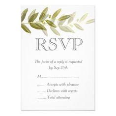 Shop Zazzle's luxurious range of Rsvp custom wedding invitations. Wedding Rsvp, Boho Wedding, Wedding Response Cards, Custom Stationery, Olive Green, Place Card Holders, Invitations, Weddings, Party