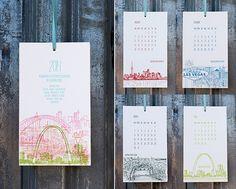 2014 Letterpress Cityscape Postcard Wall Calendar by Albertine Press