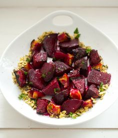Ginger-Citrus-Maple Roasted Beets & Apples with Pumpkin Seeds