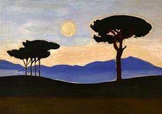 Joseph Stella, Umbrella Pines - Italian Landscape on ArtStack #joseph-stella #art