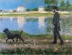 Gustave Caillebotte 1884 - Richard Gallo and his dog at Petit