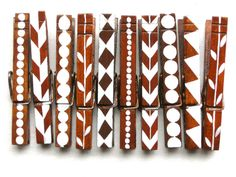 10 PAINTED CLOTHESPINS hand painted magnetic by SugarAndPaint, $25.00