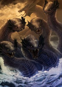 Wouldn't want to find these guys on your next fishing trip! Beautiful dragons & Mythical creatures by Louise Goalby - Digital Art Gallery Myths & Monsters, Sea Monsters, Greek And Roman Mythology, Greek Gods, Magical Creatures, Fantasy Creatures, Greek Mythical Creatures, Greek Mythological Creatures, Tiamat Dragon