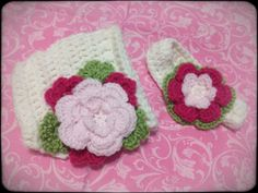 Fancy Flower Diaper Cover and Headband Set