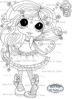 INSTANT DOWNLOAD Digital Digi Stamps Big Eye Big Head Dolls Digi My Besties IMG271 By Sherri Baldy