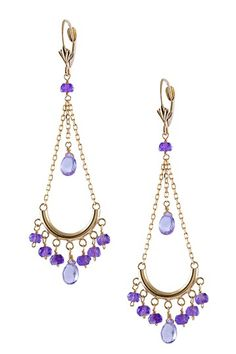 14K Yellow Gold Amethyst Chandelier Earrings by Jewelmak on @HauteLook