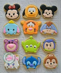 Darling Disney Tsum Tsum Cookies made by Sugary Sweet Cookies Fancy Cookies, Sweet Cookies, Iced Cookies, Cute Cookies, Royal Icing Cookies, Cookies Et Biscuits, Cupcake Cookies, Sugar Cookies, Party Cupcakes