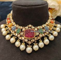 An unusual uncut diamond necklace, detailed with natural navratan and a carved red Ruby in the centre, flanked by south-sea pearls. An eclectic mix of the traditional, the statement, and the artistic. Modern Jewelry, Vintage Jewelry, Fine Jewelry, Gold Jewelry, Dainty Jewelry, Leather Jewelry, Luxury Jewelry, Turquoise Jewelry, Vintage Silver