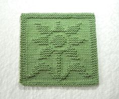 FLOWER Knit Dishcloth. Sage Green. Hand by AuntSusansCloset
