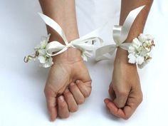 Items similar to Flower Wrist Cuffs - White Rose & Ribbon Flower Wrist Corsages, Fairy Princess, Weddings, Fae on Etsy Hand Flowers, Prom Flowers, Large Paper Flowers, Paper Flower Wall, Paper Flower Backdrop, White Corsage, Flower Corsage, Ribbon Flower, Wristlet Corsage