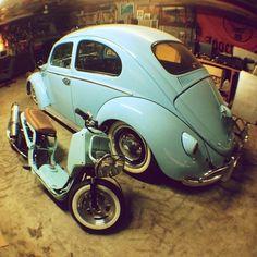 A Matching set of Volkswagen Beetle and Honda Ruckus.
