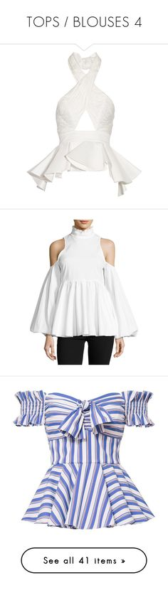 """""""TOPS / BLOUSES 4"""" by elizabethhorrell ❤ liked on Polyvore featuring tops, johanna ortiz, halter, white, surplice top, cutout tops, flutter-sleeve top, neck ties, asymmetrical tops and long tops"""