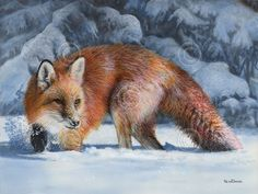 """""""Fox at the Pines"""" by Kevin Daniel This is an amazing painting that is so realistic that Pinterest user Angela Garant originally pinned it to my group board entitled Canine - ... (real only). I have now re-pinned it to its more proper home - Thanks, Angela!"""