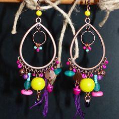 Boucles d'oreille ethnique chic goutte, jaune, rose, turquoise...