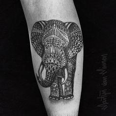 Photo by (martijn_minnen) on Instagram    #elephanttattoo, #pattern, #blackwork, #toxinktattoos, #tattoo, #animal, #legtattoo, #calftattoo