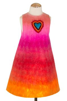 Roses are red, violets are blue and this big beautiful heart is blue too) Juicy turquoise heart creates a center piece at the background of a dozen warm shades. Bell-shaped seamless Merino wool dress for all seasons Wool Dress, Violets, Unique Colors, Big And Beautiful, Wool Felt, Tie Dye Skirt, Merino Wool, Girl Outfits, Girls Dresses