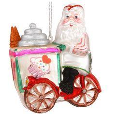 Santa With Ice Cream Cart Glass Ornament